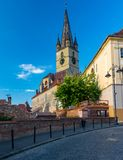 Lutheran Cathedral of Saint Mary in Sibiu, Transylvania region, Romania.  royalty free stock photography