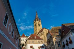 Lutheran Cathedral of Saint Mary in Sibiu, Transylvania region, Romania.  stock images
