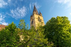 Lutheran Cathedral of Saint Mary in Sibiu, Transylvania region, Romania.  stock photos