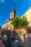 Lutheran Cathedral of Saint Mary and Stairs Passage in Sibiu, Transylvania region, Romania.  royalty free stock images