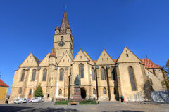 Lutheran Cathedral in Sibiu, Romania. The Lutheran Cathedral of Saint Mary is the most impossing church in Sibiu, Romania, a masterpiece of Gothic Architecture Royalty Free Stock Photo