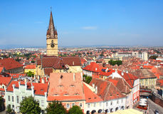 Lutheran cathedral tower, Bridge of Lies and Small Square, Sibiu Stock Photo