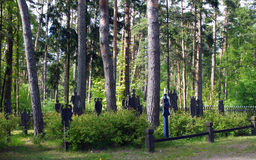 Lutheran  cemetery. Opposite the Amber Museum, the cemetery of the Lutheran church, the graves are marked by a Krikstai, typical monument of the region recall Stock Image