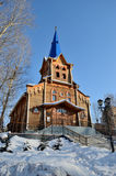 Lutheran Church. Wooden Lutheran church in the park in Tomsk, Russia Royalty Free Stock Photo