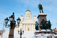 Lutheran church in the central square in Helsinki. Royalty Free Stock Images