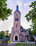 Lutheran church in Dubulti, Jurmala, Latvia. The church was built in 1909 with traits of asymmetry and national Latvian romanticism style. Architect W. Bokslaf Stock Photos