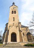 Lutheran church in Dubulti, Jurmala, Latvia. Lutheran church in Dubulti was built in 1909 with traits of asymmetry and national Latvian romanticism style Royalty Free Stock Images