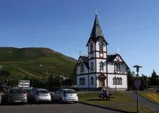A lutheran church in Húsavík, Iceland. stock images