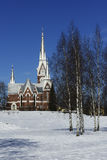 Lutheran Church of neo-Gothic architecture in winter, Joensuu, F Royalty Free Stock Image