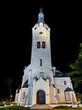 Lutheran church at night, Jurmala, Latvia Stock Photo
