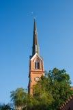 Lutheran Church Steeple Under Blue Skies Stock Image