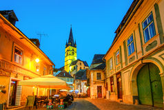 Lutheran Church,  from the streets of medieval Lower Town city,. Lutheran Church, built  in the Huet Square,  seen from the streets of medieval Lower Town city Stock Images