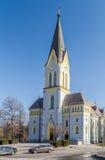 Lutheran Church in Trinec, Czech Republic. Evangelical church in Trinec, church with lancet windows in neo-gothic style, Frydek-Mistek District in Czech Republic Stock Photos