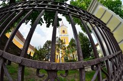 Church. Lutheran church and forged fence Stock Photography