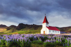 Lutheran church in Vik. Iceland. Royalty Free Stock Images