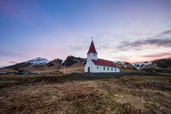 Lutheran church in Vik. Iceland. Icelandic village of Vik with the church at the top of the hill in the Southeast Iceland Stock Images