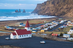Lutheran church in Vik. Iceland. Icelandic village of Vik with the church at the top of the hill in the Southeast Iceland Royalty Free Stock Images