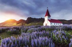 Lutheran kerk in Vik ijsland stock fotografie