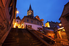 Lutherandomkyrka i Sibiu, Rumänien Arkivfoto