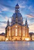 Lutherankyrka Dresden Frauenkirche i Dresden på natten, tysk Royaltyfri Bild