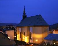 Lutherankyrka i Bardejov slovakia Arkivbilder