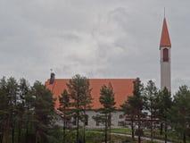 Lutherankyrka i Hetta, Lapland, Finland Arkivbilder