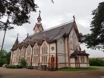 Lutherankyrka i staden av Kajani, Finland Arkivfoto