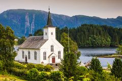 Lutherische Kirche Bruvik, Insel Osteroy Norwegen Stockfoto