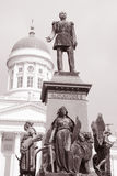 Luthern Cathedral, Helsinki, Finland with Alexander II Monument Stock Image