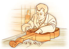 luthier的技工 库存照片