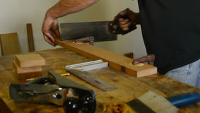 Luthier, carpenter, craftsman, cutting wood with hacksaw stock video footage