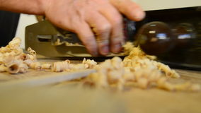 Luthier, carpenter or craftsman wood planing in close up. stock video footage
