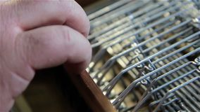 Luthier Fixing An Accordion stock footage