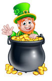 Lutin de jour de St Patricks et pot d'or illustration libre de droits