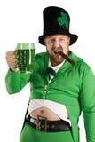 Lutin levant une bière verte Photos stock