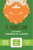 Lutin ou homme irlandais avec la moustache et barbe pour le bar de jour de St Patricks ou l'invitation de partie Images libres de droits