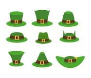 Lutin vert de chapeau Chapeau de lutin, chapeau vert d'isolement sur le blanc Image libre de droits