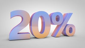 20% lutningtext på vit bakgrund, 3d framför stock illustrationer