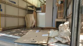 Inside of a removals van