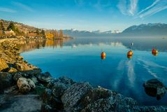Lutry harbor in Switzerland stock images