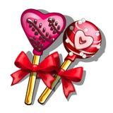 Lutscher auf Stock mit Herzen Süßigkeiten für Valentinsgruß-Tag, Romanze Symbol Vektor in der Karikaturart lokalisiert auf Weiß Stockfotografie