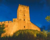 The Lutsk castle at night. The tower of Lutsk aka Lubart castle at night, Lutsk, Volyn, Ukraine Stock Image