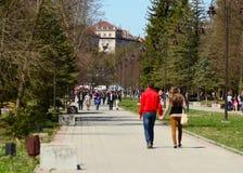 Lutsk, parc sentral du bâtiment principal d'université de whis de Lutsk Photographie stock libre de droits