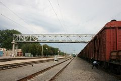Railway station. LUTSK, UKRAINE - 18 August 2009: The train transportation of cargoes by rail Royalty Free Stock Photo