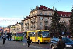 The Avenue of the Will in Lutsk, Ukraine. Lutsk, Ukraine - December 14, 2011: The Avenue of the Will Propekt Voli is the central street of Lutsk, western Ukraine Stock Images