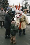 Traditional christmas festival. LUTSK, UKRAINE - January 11, 2009 - Man dressed as `The Goat` at traditional christmas festival at Teatralna square Royalty Free Stock Photos