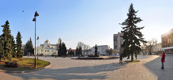 Lutsk, Ukraine - March 10, 2015: View of the central area of Lutsk in northwestern Ukraine. Central Square with the monument to Lesya Ukrainka Royalty Free Stock Photo