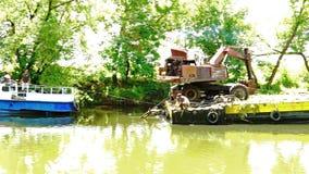 2018 06 27, Lutsk Ukraine. Nemunas river near the castle going dredging works. 2018 06 27, Lutsk Ukraine. Nemunas river near the castle going dredging works stock video footage