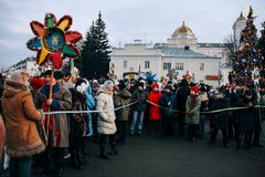 Orthodox Christmas. Lutsk, Volyn / Ukraine - January 11, 2008: Participants of the mass holiday festivities are going in the center of the city during the Royalty Free Stock Images
