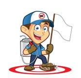 Lutte contre exterminateur ou parasites tenant le drapeau illustration de vecteur